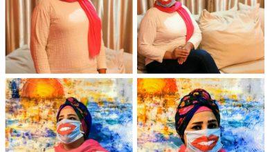 """صورة الفنانة التشكيليه""""نيها حتة"""" ومبادرة متخليش الكمامة تخفي الابتسامة"""