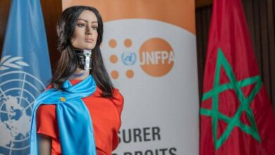 """صورة """"شامة"""" إمرأة روبوت تقود حملة لمكافحة العنف ضد النساء في المغرب .. هي لا تملك أي احاسيس أو ضمير ومع ذلك تناهض العنف ضد المرأة"""